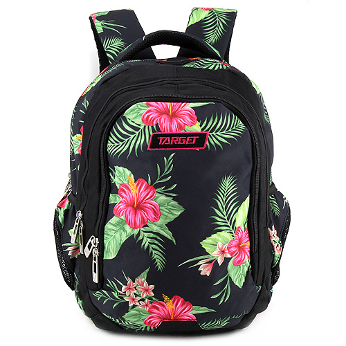 Školní batoh Target Černý s květinami