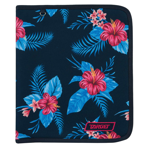 Desky na zip Target Modré s květinami, formát A4, s kroužkovým mechanismem
