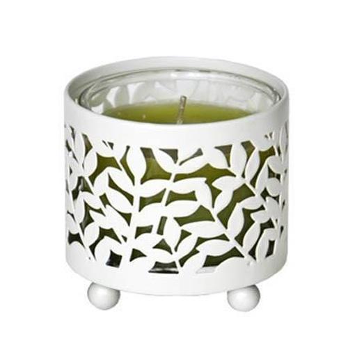 Svícen kovový Village Candle S motivem lístečků, na mini svíčku ve skle