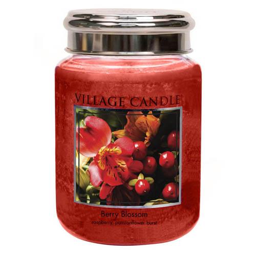 Svíčka ve skleněné dóze Village Candle Červené květy, 737 g