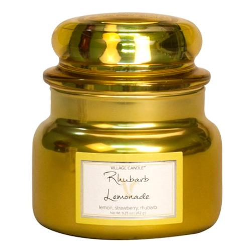Svíčka ve skleněné metalické dóze Village Candle Rebarborová citronáda, 312 g