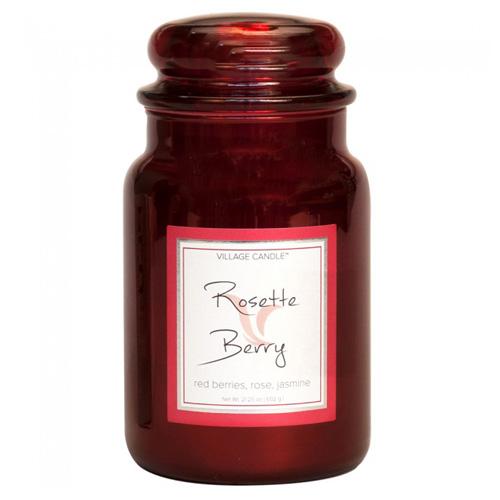 Svíčka ve skleněné metalické dóze Village Candle Růže a červené ovoce, 737 g