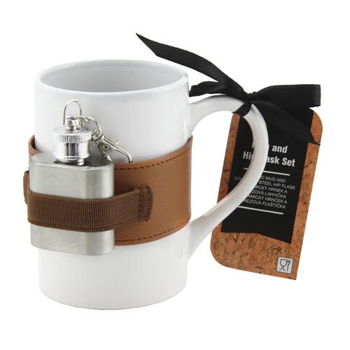 Dárkové sety Dárková sada Bílý keramický hrnek 250 ml s mini placatkou 20 ml