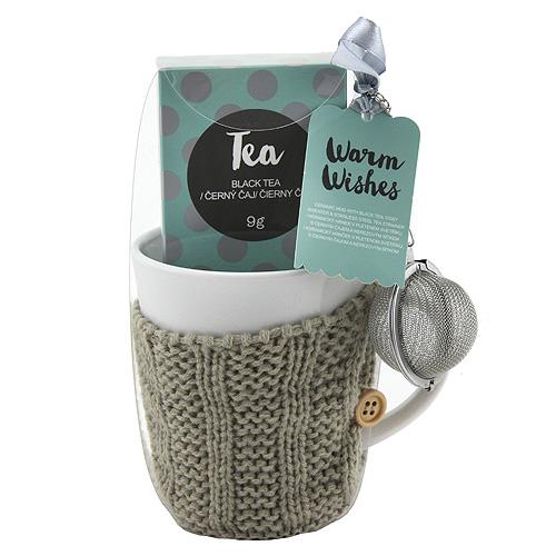 Dárkové sety Dárková sada Černý čaj 9g, keramický hrnek v šedém svetru 300ml, sítko