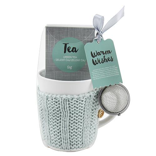 Dárkové sety Dárková sada Zelený čaj 9g, keramický hrnek v světle modrém svetru 300 ml