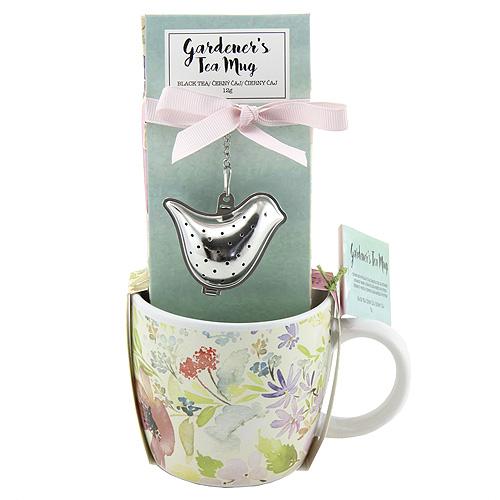 Dárkové sety Dárková sada Černý čaj 12g, keramický hrnek s květinami 320ml, sítko