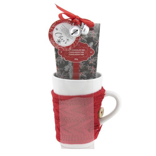 Dárkové sety Dárková sada Čokoláda 20g, keramický hrnek v červeném svetru 400ml, rolni