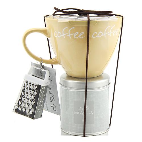 Dárkové sety Dárková sada Vanilková káva 19g, žlutý keramický hrnek s nápisem 300ml, s