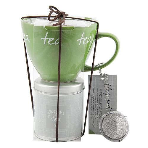 Dárkové sety Dárková sada Zelený čaj 5g, zelený keramický hrnek s nápisem 300ml, sušen