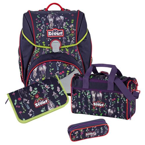 Školní set Scout 4-dílný - Alpha, koníci a kytičky