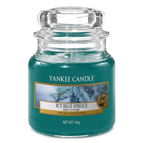 Svíčka ve skleněné dóze Yankee Candle Zledovatělý modrý smrk, 104 g