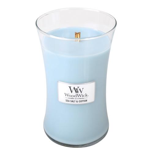Svíčka oválná váza WoodWick Mořská sůl a bavlna, 609.5 g