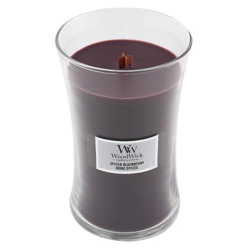 Svíčka oválná váza WoodWick Pikantní ostružina, 609.5 g