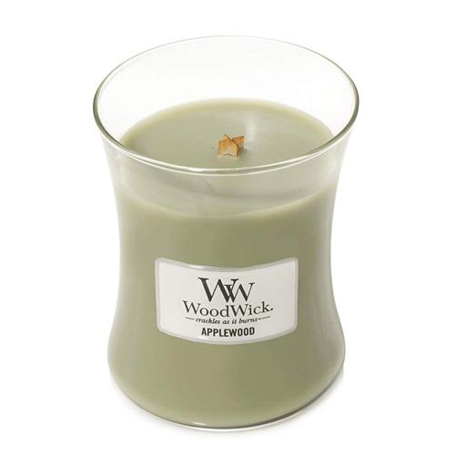 Svíčka oválná váza WoodWick Jabloňové dřevo, 275 g