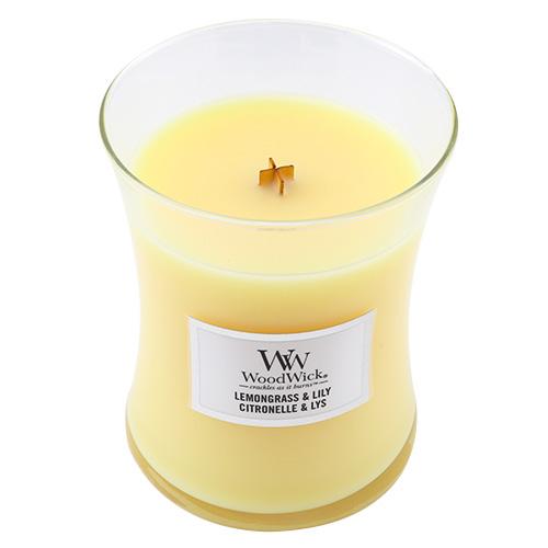 Svíčka oválná váza WoodWick Citronová tráva a lilie, 275 g