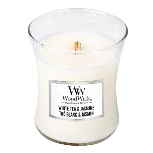 Svíčka oválná váza WoodWick Bílý čaj a jasmín, 275 g
