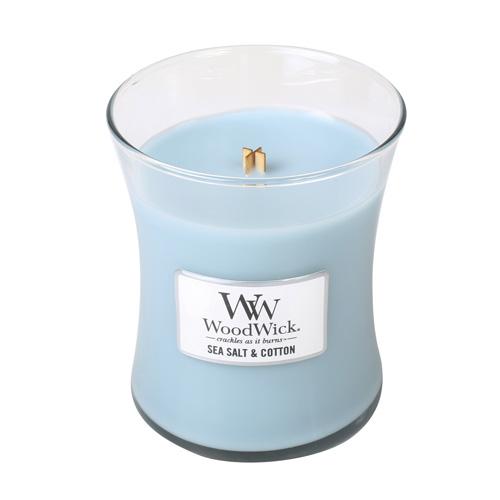 Svíčka oválná váza WoodWick Mořská sůl a bavlna, 275 g