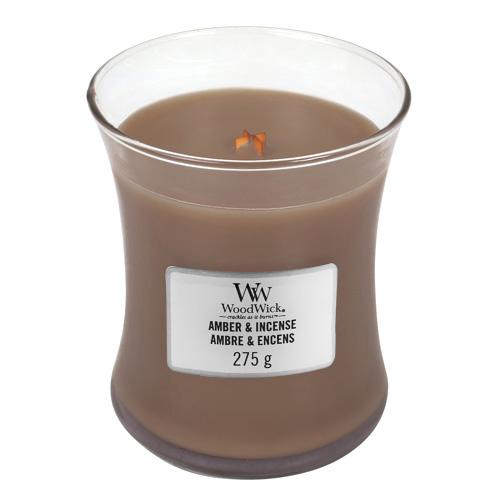 Svíčka oválná váza WoodWick Ambra a kadidlo, 275 g