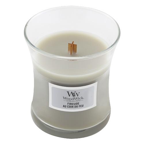 Svíčka oválná váza WoodWick Oheň v krbu, 85 g