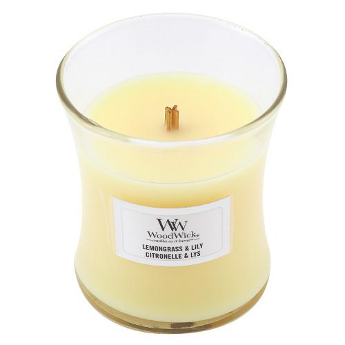 Svíčka oválná váza WoodWick Citronová tráva a lilie, 85 g