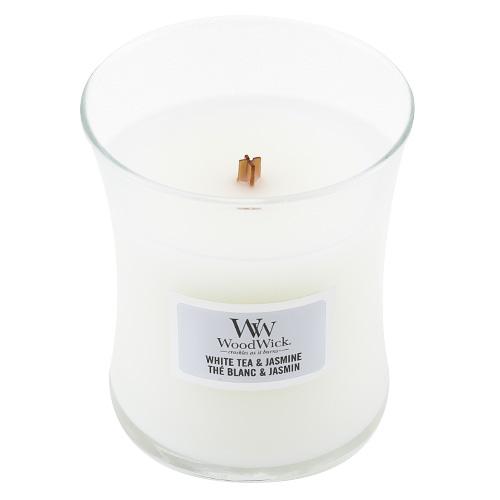 Svíčka oválná váza WoodWick Bílý čaj a jasmín, 85 g