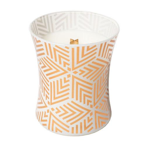Svíčka oválná váza WoodWick Bílý teak, 275 g