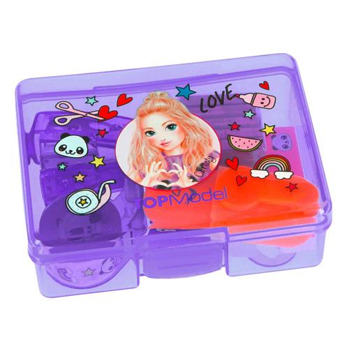 Mini set na psací stůl Top Model ASST Fialový box - zvýrazňovač, lepící bločky, sešívačka, sponky,