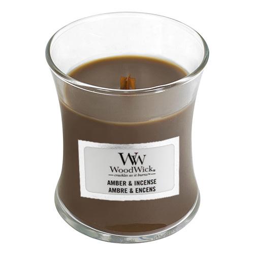 Svíčka oválná váza WoodWick Ambra a kadidlo, 85 g