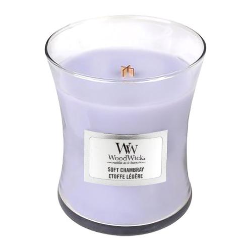 Svíčka oválná váza WoodWick Čisté prádlo, jasmín a růže, 85 g