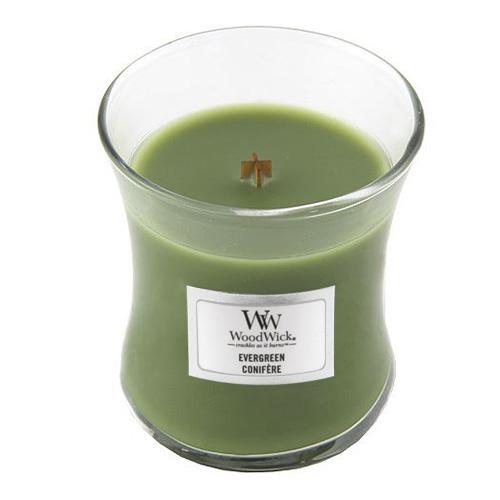 Svíčka oválná váza WoodWick Vůně jehličí, 85 g