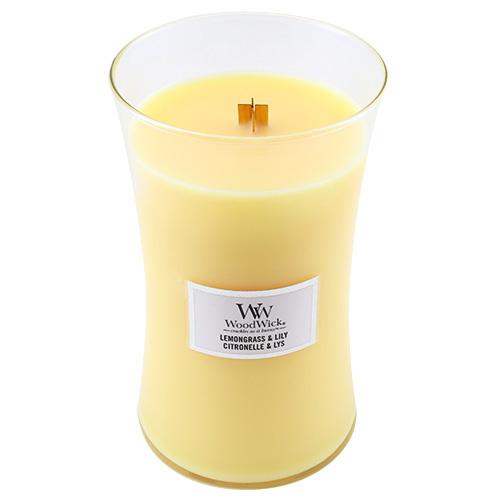 Svíčka oválná váza WoodWick Citronová tráva a lilie, 609.5 g