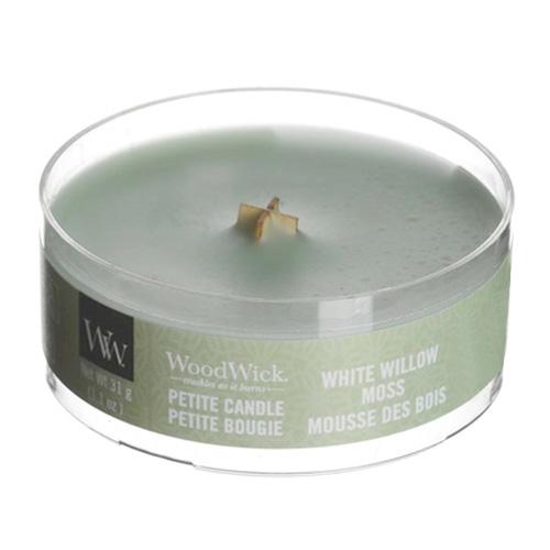 Drobná svíčka WoodWick Vrba a mech, 31 g