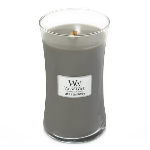 Svíčka oválná váza WoodWick Písek a naplavené dříví, 609.5 g