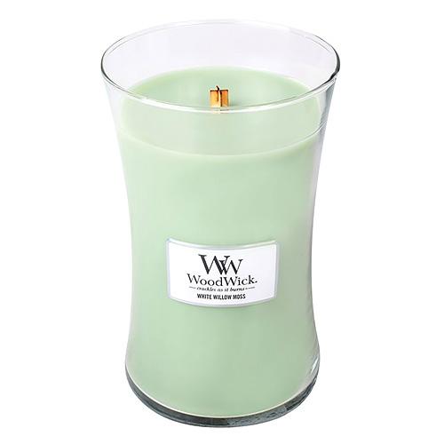Svíčka oválná váza WoodWick Vrba a mech, 609.5 g
