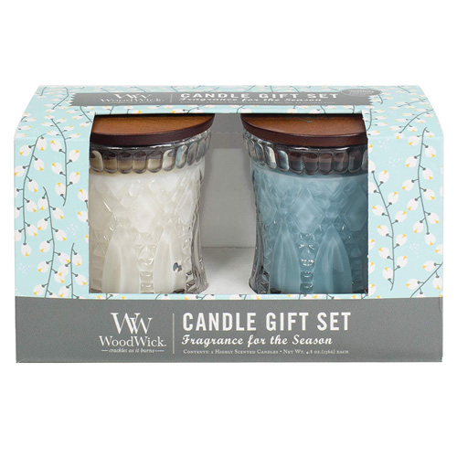 Dárková sada WoodWick Bílý čaj a jasmín a Mořská sůl a bavlna, 2 x 136 g