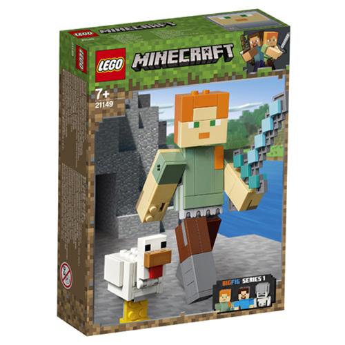 Stavebnice LEGO Minecraft Minecraft velká figurka: Alex s kuřetem, 160 dílků