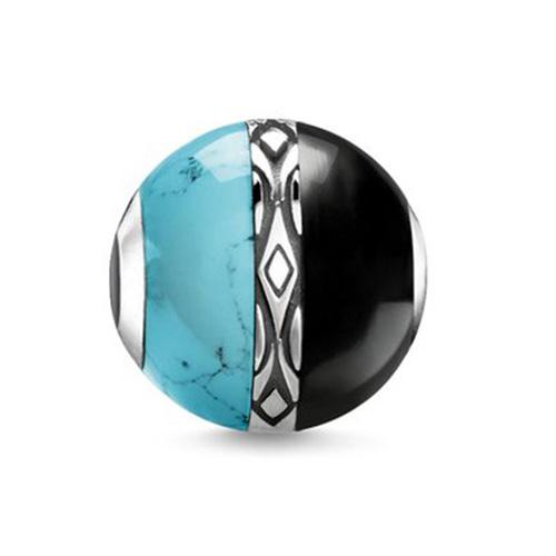 """Korálek """"Ornament tyrkysový a černý"""" Thomas Sabo K0324-878-7, Karma Beads, 925 Sterling silver, blackened, si"""