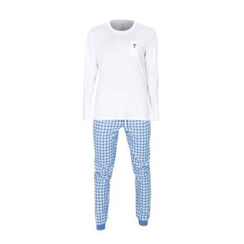 Dámské pyžamo Tufte White/Light Blue Checkers | Bílá | L