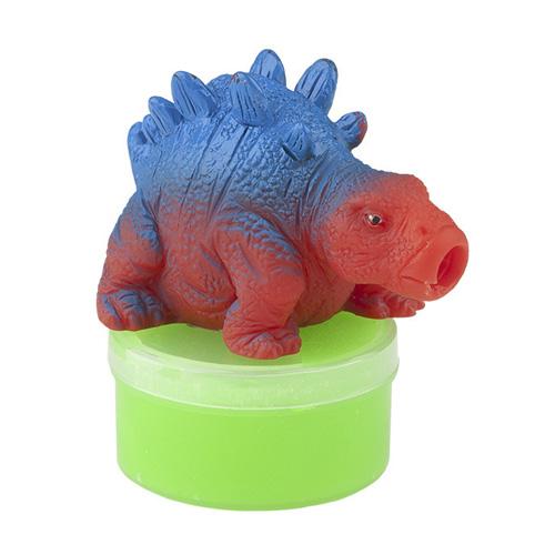 Figurka se slizem Dino World ASST Stegosaurus, zelený sliz