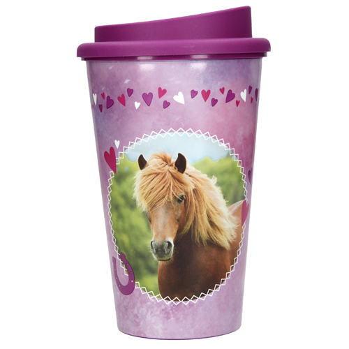 Pohár na pití Horses Dreams Hnědý kůň, fialový, 350 ml