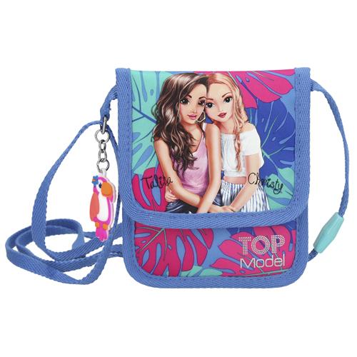 Kapsička na krk Top Model Talita a Christy, modro-růžová s tropickým motivem