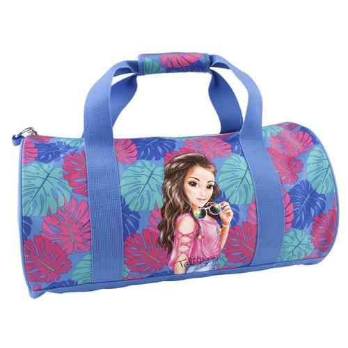 Sportovní taška Top Model Talita, modro-růžová s tropickým motivem