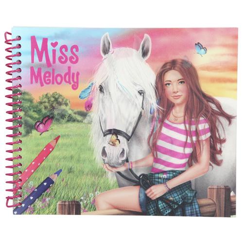 Omalovánky, kreativní sada Miss Melody Vytvoř si svého koně, se samolepkami a 3D obrázkem