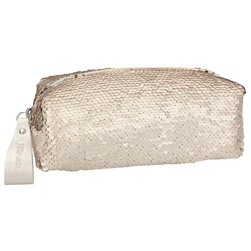 Kosmetická taška Top Model Matně zlatá s měnícími flitry