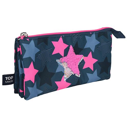 Školní penál taštička Top Model Hvězda, měnící flitrový obrázek, modro-růžový