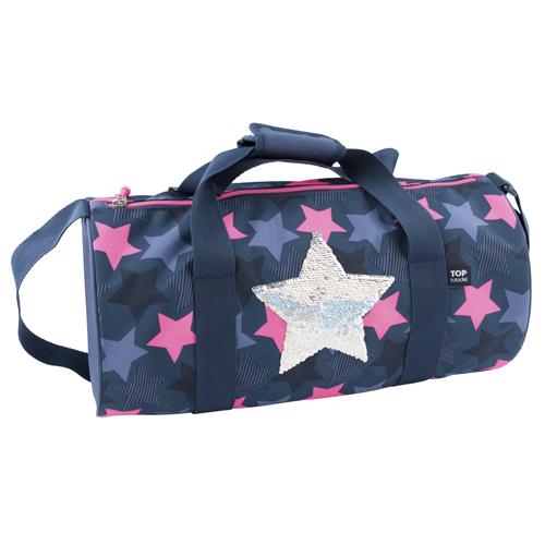 Sportovní taška Top Model Hvězda, měnící flitrový obrázek, modro-růžová