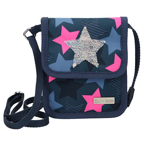Kapsička na krk Top Model Hvězda, měnící flitrový obrázek, modro-růžová