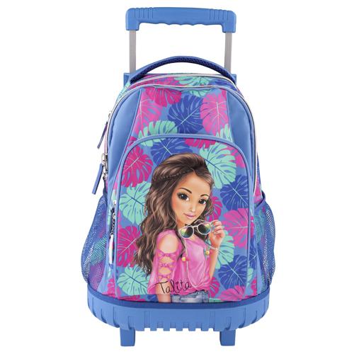 Školní batoh trolley Top Model Talita, modro-růžová s tropickým motivem