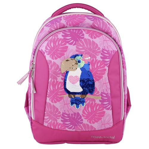 Školní batoh Top Model Tukan, měnící flitrový obrázek, růžový