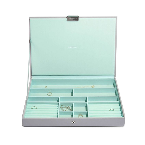 73565 DOVE GREY S/SIZE LIDDED | STACKERS with MINT LINING